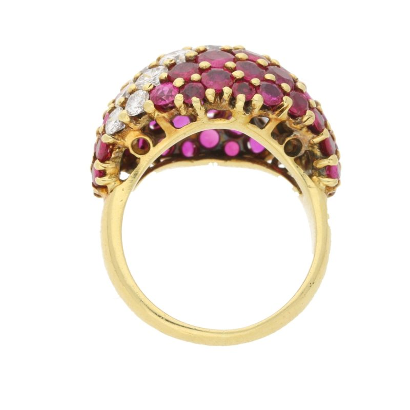 1950's ruby and diamond bombe ring set in 18ct yellow gold