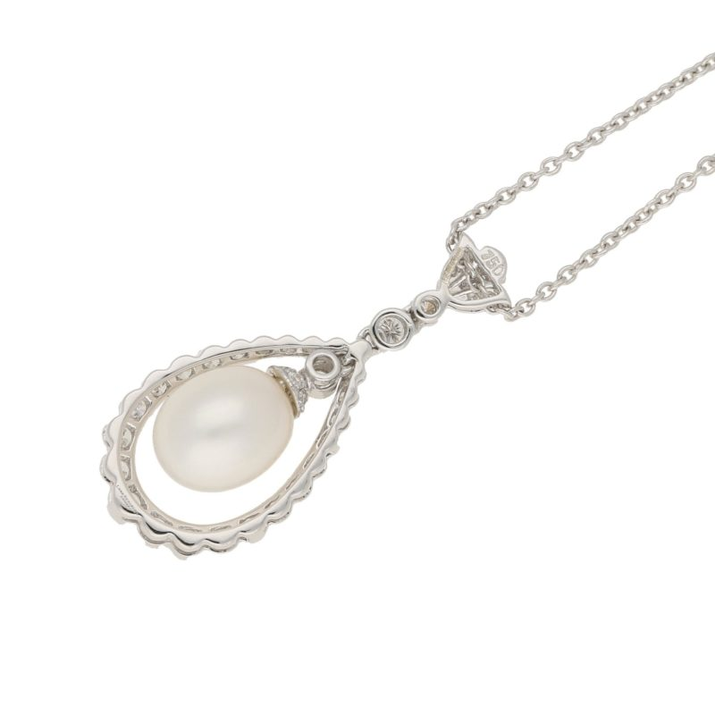 18ct gold pearl diamond pear drop necklace