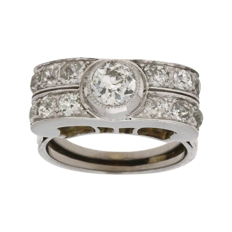Art Deco cocktail diamond ring