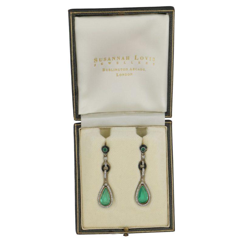 Art Deco Colombian Emerald, Diamond, and Enamel Drop Earrings