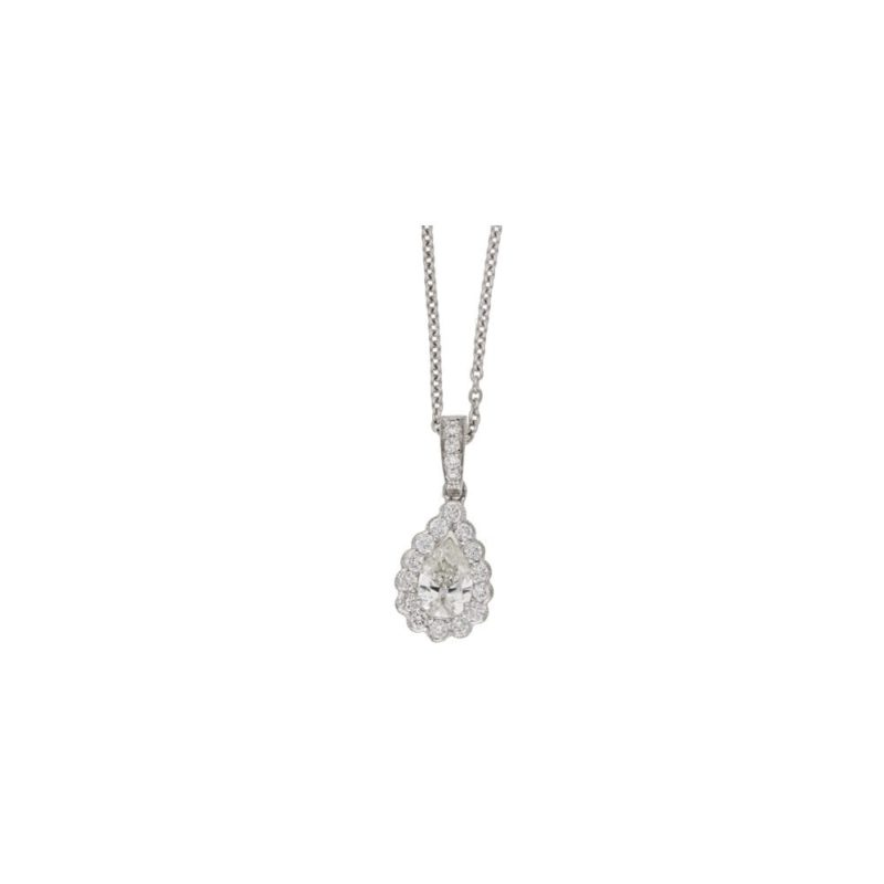 18ct gold pear diamond drop pendant