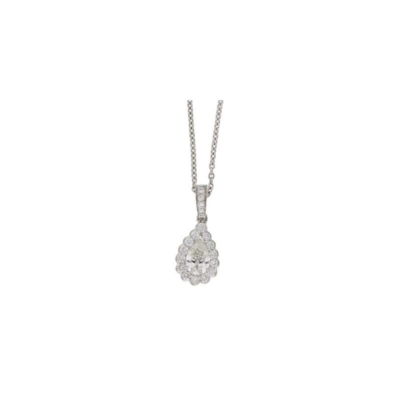 18ct gold pear diamond drop pendant
