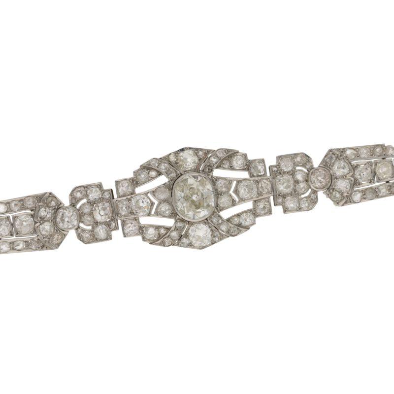 Art Deco Diamond Plaque Bracelet in Platinum