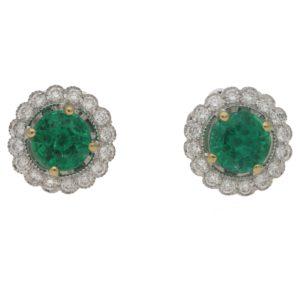 18ct emerald diamond cluster stud earrings