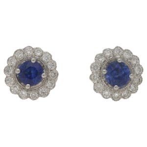 18ct gold sapphire diamond cluster studs