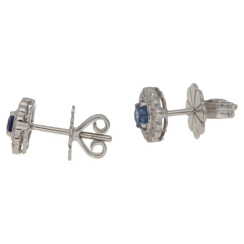 Sapphire and Diamond Cluster Stud Earrings