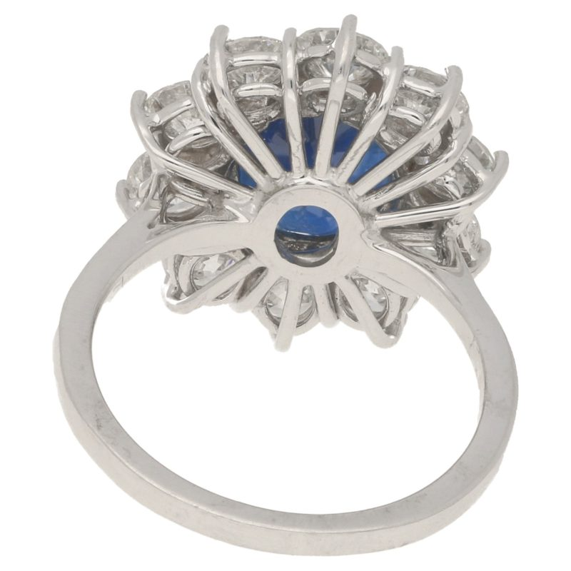 Sapphire and diamond cluster ring in white gold