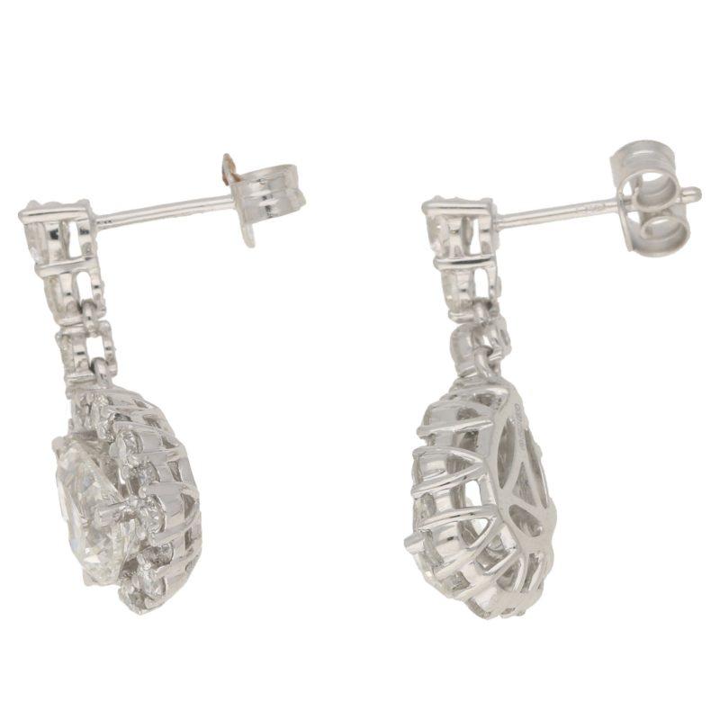 Pear-shape diamond drop earrings