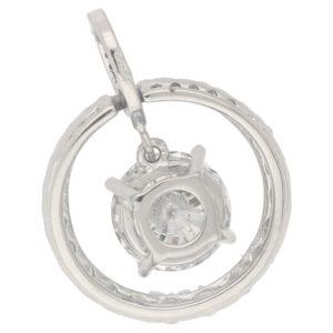 Circular diamond pendant with diamond drop in white gold