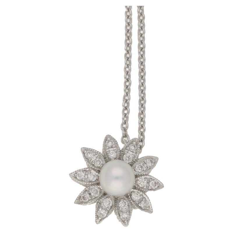 18ct pearl diamond floral pendant on chain