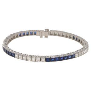 Sapphire and Diamond Line Bracelet Platinum