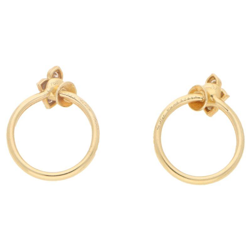 18ct gold Flower clip on hoop earrings