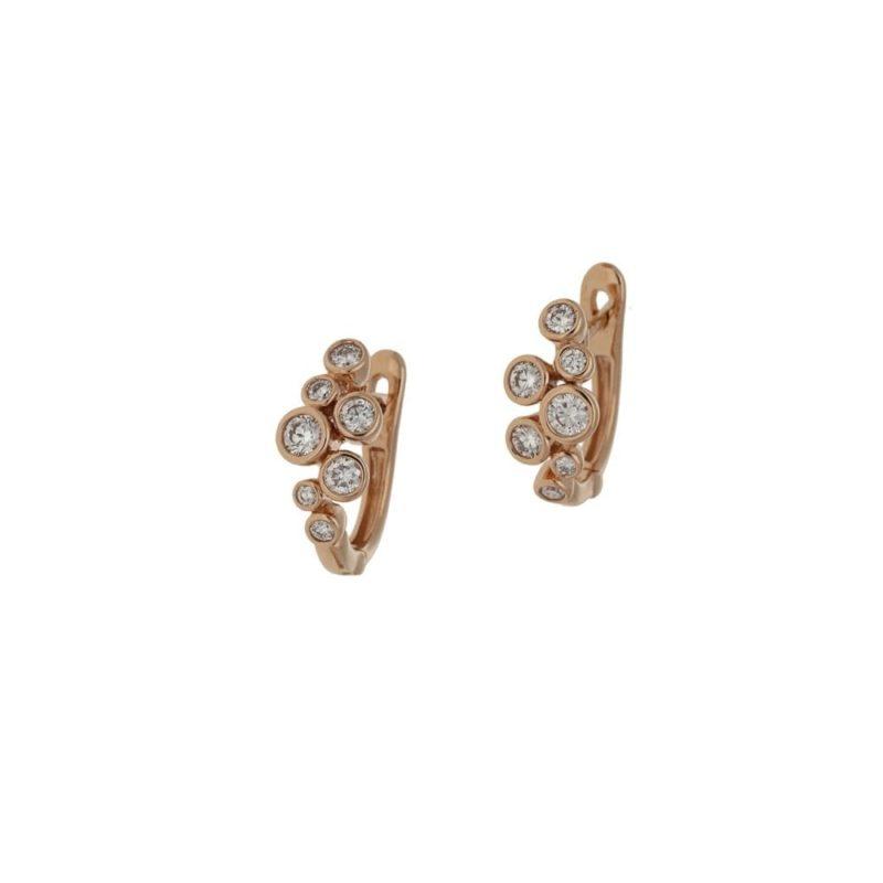 Globular Diamond Hoop Earrings in Rose Gold