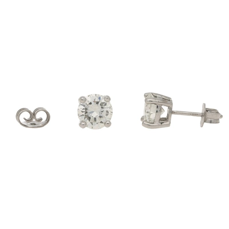 Solitaire diamond stud earrings 2.46 carats