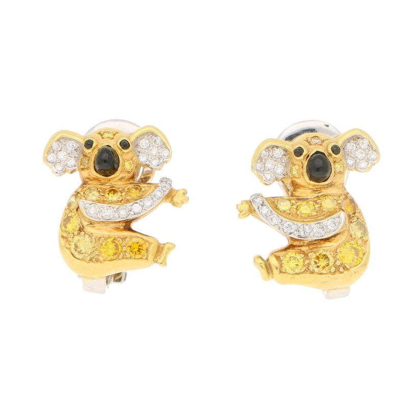 Vintage Koala Bear Diamond, Yellow Diamond, Onyx Clip Earrings