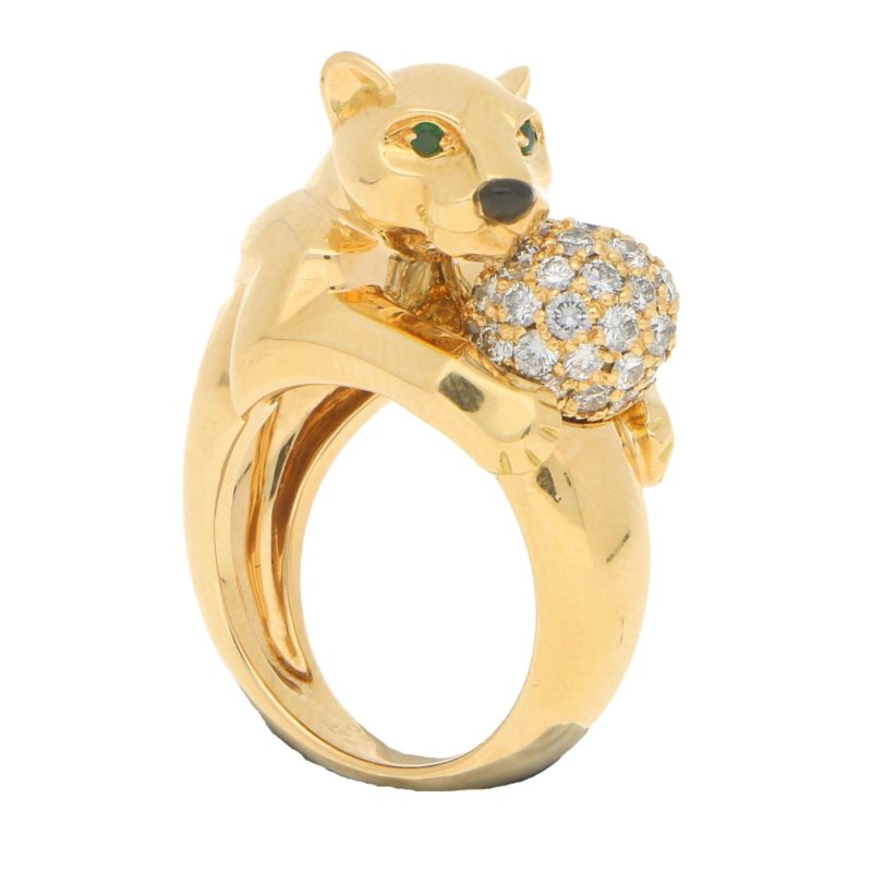 Panthere de Cartier Diamond and Emerald Ring Yellow Gold