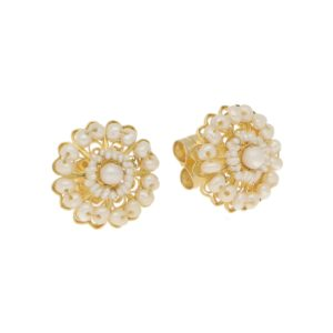 Seed Pearl Cluster Stud Floral Earrings in Yellow Gold Filigree