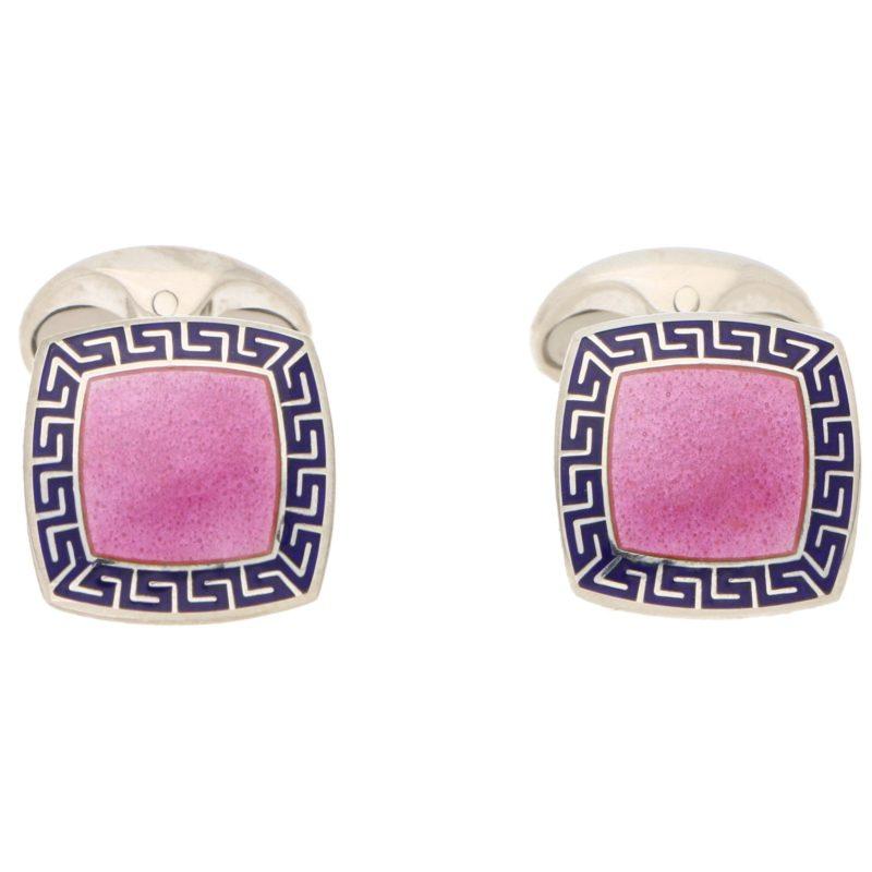 Pink and Blue Enamel Swivel Back Cufflinks in Sterling Silver