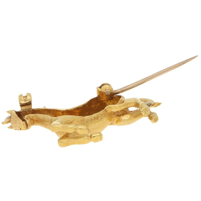 Diamond and Ruby Thoroughbred Horse Brooch Yellow and White Gold