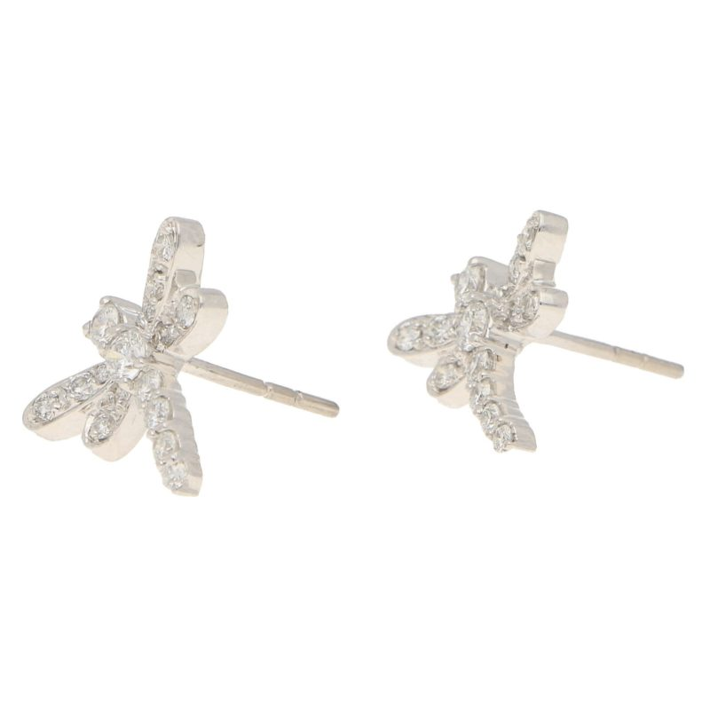 Dragonfly Diamond Stud Earrings in White Gold