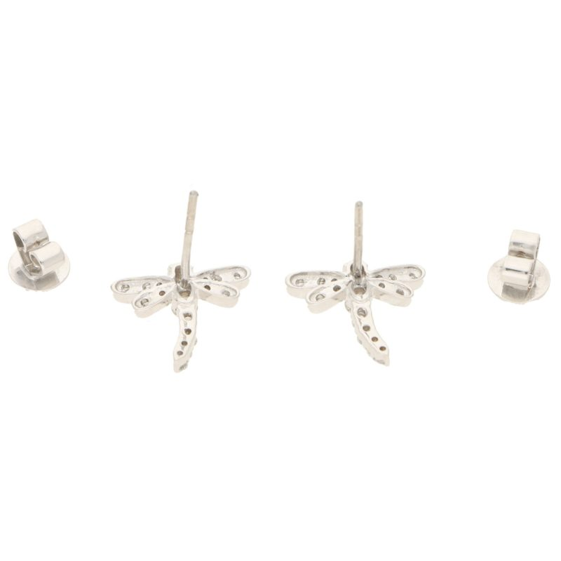Dragonfly Diamond Stud Earrings in White Gold