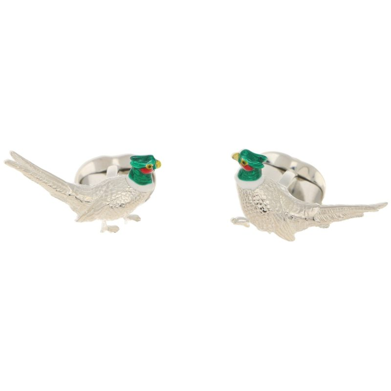 Men's enamel pheasant swivel back cufflinks in sterling silver