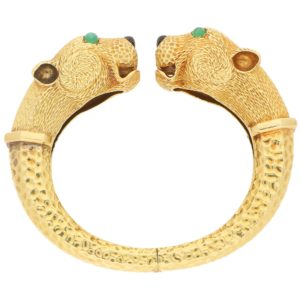 18ct gold leopard head bangle