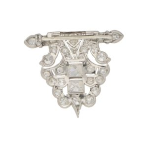 Mid-20th Century Geometric Panel Diamond Brooch in Platinum