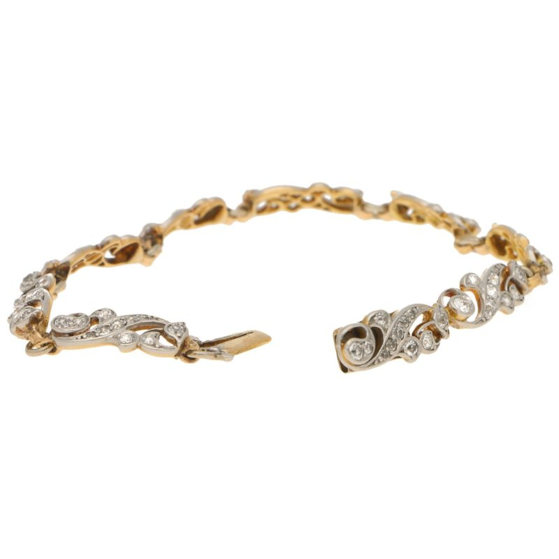 Victorian Scrolled Diamond Bracelet in Silver-on-Gold