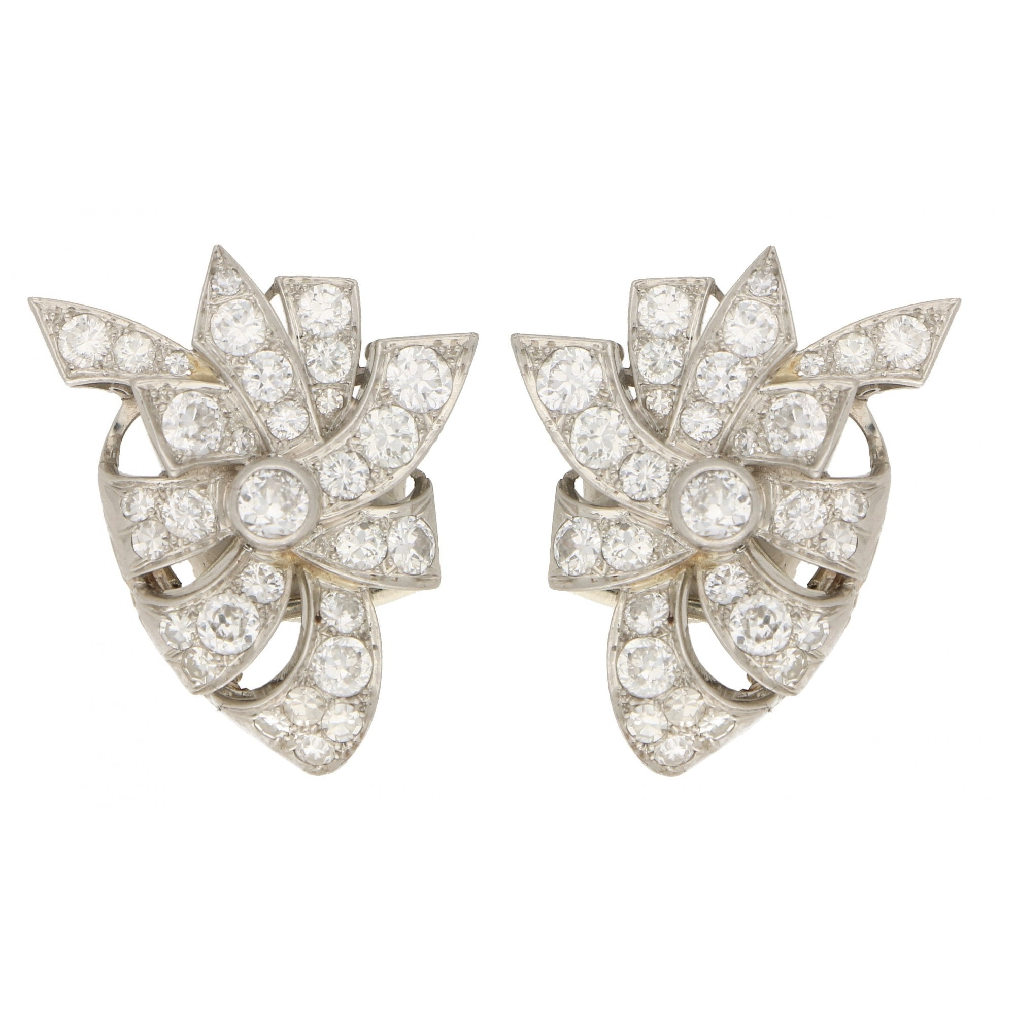 Mid 20th Century Diamond Bow Earrings In White Gold