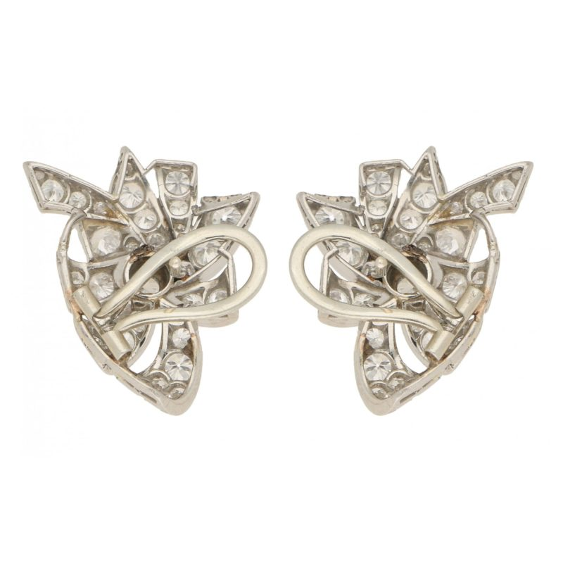 Mid-20th Century Diamond Bow Earrings in White Gold