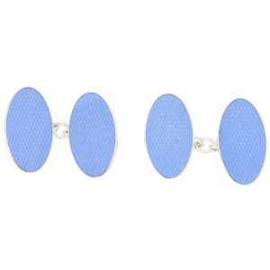 Men's oval blue enamel and sterling silver chainlink cufflinks