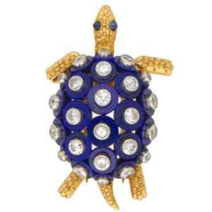 1960s Lapis Lazuli, Diamond and Sapphire Turtle Brooch