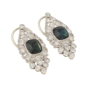Mid-20th Century Sapphire and Diamond Drop Earrings in Platinum