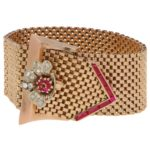Retro Diamond Belt Buckle Bracelet Rose Gold, circa 1940