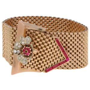 Retro Diamond Belt Buckle Bracelet Rose Gold, circa 1940
