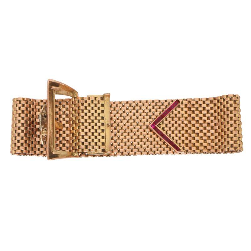 Retro Diamond Belt Buckle Bracelet Rose Gold