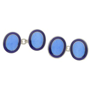 Men's navy blue border oval sterling silver chain cufflinks