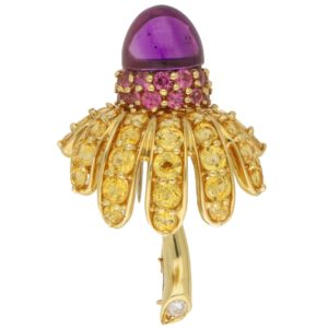 Tiffany & Co. Gem Set Thistle Brooch