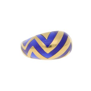 Vintage Blue Enamel Zigzag Bombe Cocktail Ring in Yellow Gold