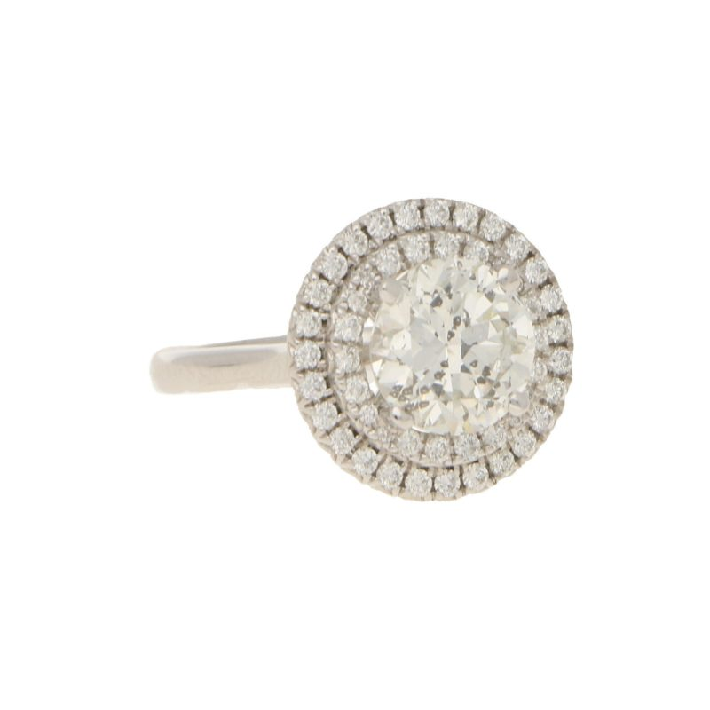 5.17ct Double Halo Diamond Ring in White Gold