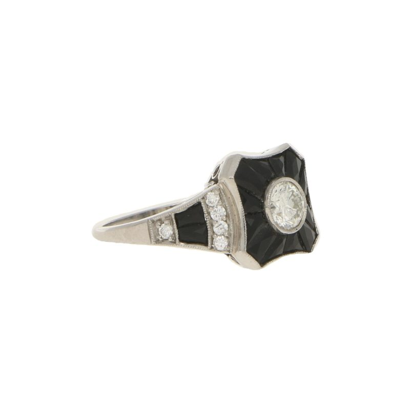 0.50ct Diamond and Onyx Target Ring in White Gold