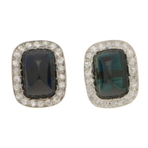 Sugarloaf Sapphire and Diamond Cluster Stud Earrings White Gold
