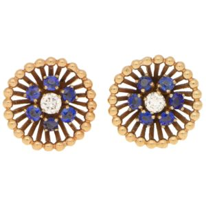 Vintage Sapphire and Diamond Floral Stud Earrings in Rose Gold