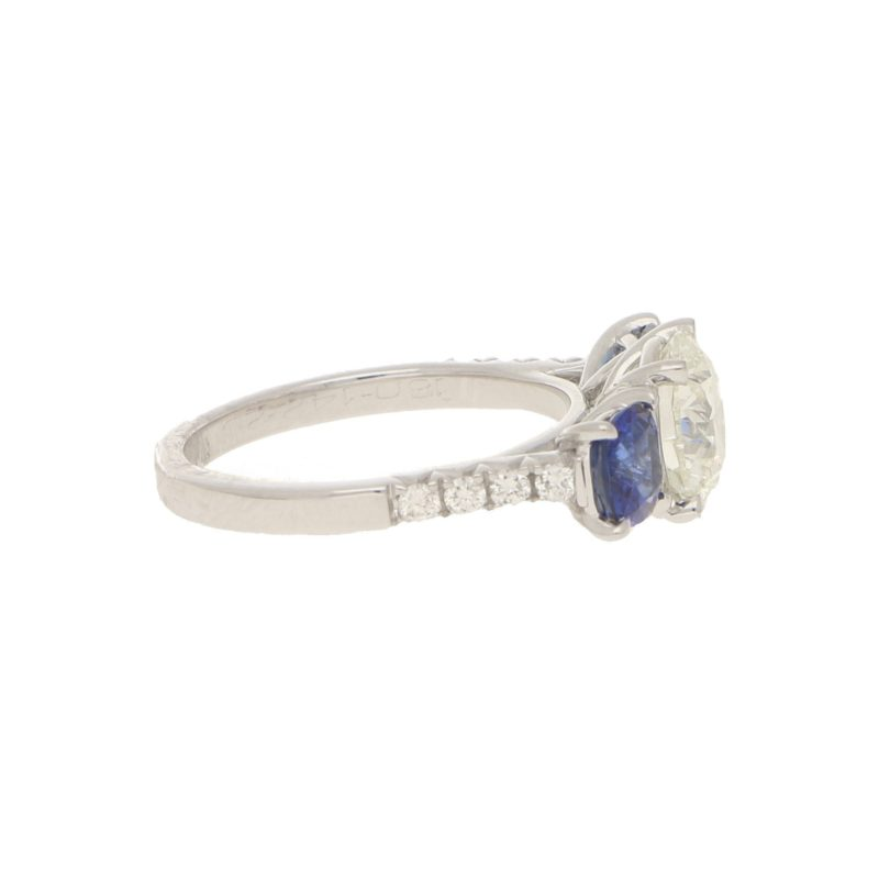 Diamond and Sapphire Three-Stone Ring in White Gold