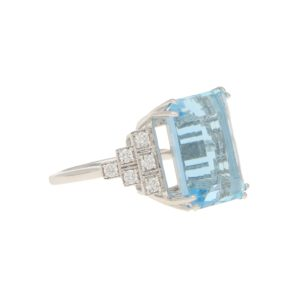 12.74ct Aquamarine and Diamond Cocktail Ring in White Gold