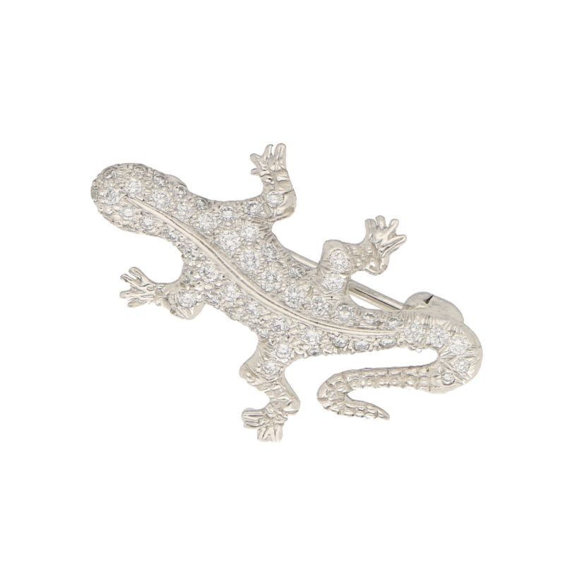 Diamond Lizard Brooch in Platinum