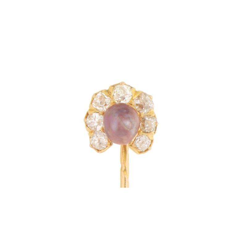 Victorian Aubergine Natural Pearl and Diamond Stick Pin in Gold