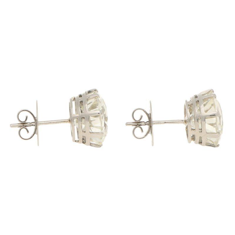 12.64ct Old European Brilliant Diamond Stud Earrings Platinum