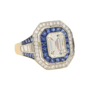 1.68ct Diamond and Sapphire Target Ring Platinum and Yellow Gold